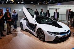 Voiture de sport électrique de BMW i8 à l'IAA 2015 Images stock