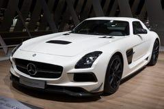 Voiture de sport 2013 de la série C197 de noir de coupé de Mercedes Benz SLS AMG Photographie stock
