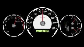 Voiture de sport de tachymètre, accélération de début et freinage Fond d'écran noir illustration de vecteur