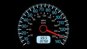 Voiture de sport de tachymètre, accélération de début et freinage Fond d'écran noir animation 4K illustration stock