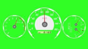 Voiture de sport de tachymètre, accélération de début et freinage Fond d'écran vert illustration stock