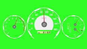 Voiture de sport de tachymètre, accélération de début et freinage Fond d'écran vert animation 4K illustration de vecteur