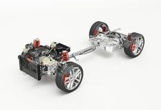 Voiture de SUV sous le rendu technique du chariot 3 D illustration stock
