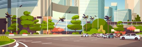 Voiture de ville se garant au-dessus de l'appartement horizontal de bannière de fond moderne de paysage urbain de bâtiments de gr illustration libre de droits