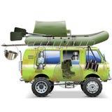 Voiture de voyage de vecteur avec des accessoires de pêche illustration libre de droits