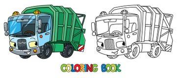 Voiture drôle de camion à ordures avec des yeux Livre de coloration illustration stock
