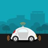 Voiture Driverless sur l'illustration de rue Image stock