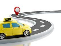 voiture du taxi 3d sur la route Image libre de droits