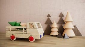 Voiture en bois de jouet avec la photo de fond de vacances de Noël de pins Photos libres de droits
