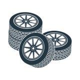 Voiture en caoutchouc d'entraînement de jante de pneu de roue illustration libre de droits