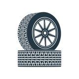 Voiture en caoutchouc d'entraînement de jante de pneu de roue illustration de vecteur