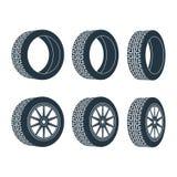 Voiture en caoutchouc d'entraînement de jante de pneu de roue Photo stock