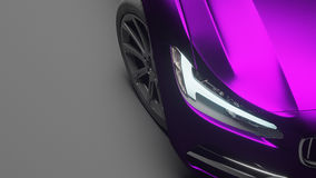 Voiture enveloppée en film mat violet de chrome rendu 3d photo libre de droits