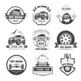 Voiture extrême tous terrains ou ensemble automatique de calibre d'icônes de vecteur de club de conducteur illustration stock