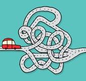 Voiture faisant face à une route/à problème chaotiques illustration de vecteur