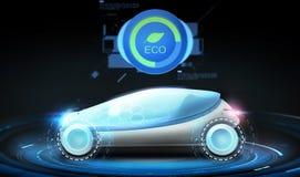 Voiture futuriste de concept avec l'icône d'eco Photo libre de droits
