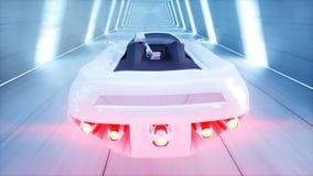 Voiture futuriste de vol avec l'entraînement rapide de femme dans le tunnel du sci fi, coridor Concept d'avenir rendu 3d illustration stock