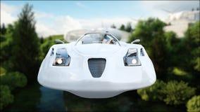 Voiture futuriste volant au-dessus de la ville, paysage Transport de l'avenir Silhouette d'homme se recroquevillant d'affaires re illustration stock