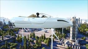 Voiture futuriste volant au-dessus de la ville, ville Transport de l'avenir Silhouette d'homme se recroquevillant d'affaires rend illustration stock