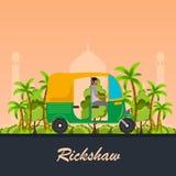 Voiture indienne de pousse-pousse de moteur Tuk indien de tuk Illustration de vecteur Photo libre de droits