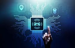 Voiture intelligente IOT et concept moderne de technologie d'automation sur l'?cran virtuel photographie stock
