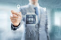 Voiture intelligente IOT et concept moderne de technologie d'automation sur l'?cran virtuel illustration de vecteur