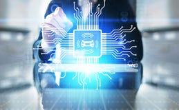 Voiture intelligente IOT et concept moderne de technologie d'automation sur l'?cran virtuel image stock
