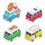 Voiture isométrique Constructeur de nourriture mobile Campeur de famille Transport isométrique illustration libre de droits