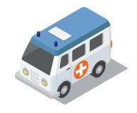 Voiture isométrique plate de l'ambulance 3d pour le constructeur de clinique de carte de ville Photographie stock