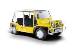 Voiture jaune de Mini Moke Photo stock