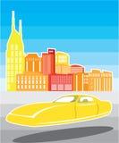 Voiture jaune volante Photographie stock libre de droits