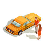 Voiture Kit Isometric Composition Images stock