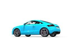Voiture métallique bleue lumineuse sur le fond blanc Photo stock