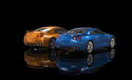 Voiture métallique orange et bleue sur le fond noir - vue arrière Photos libres de droits
