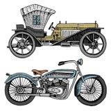 Voiture, machine ou moteur et moto ou illustration classique de motocyclette gravé tiré par la main dans le vieux style de croqui Images libres de droits