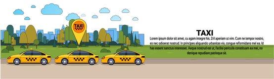 Voiture moderne de taxi avec la bannière horizontale de cabine de signe d'emplacement de généralistes d'ordre de concept en ligne illustration de vecteur