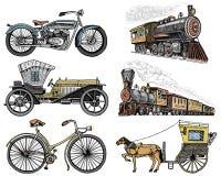Voiture, motocyclette, chariot hippomobile, locomotive gravé tiré par la main dans le vieux style de croquis, transport de passag Images stock