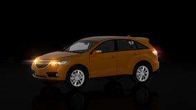 Voiture orange générique de SUV sur le fond noir, vue de face Photographie stock