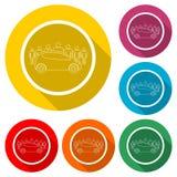 Voiture partageant l'icône, voiture partageant le symbole, icône de couleur avec la longue ombre Photos libres de droits