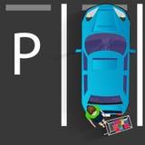 Voiture personnelle bleue en parc illustration de vecteur