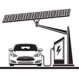 Voiture, pile solaire, poste d'essence électrique illustration stock