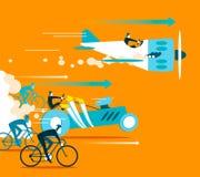 Voiture puissante et avion rattrapant des bicyclettes Photo libre de droits