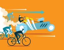 Voiture puissante rattrapant des bicyclettes Les affaires vont de l'avant Photo stock