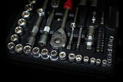 Voiture réparant des outils, outils de réparation Photographie stock libre de droits