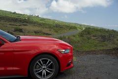 Voiture rouge avec l'au sol de dos de la route I photographie stock