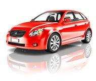 voiture rouge de dos de la trappe 3D illustration stock