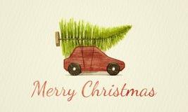 Voiture rouge de jouet avec la peinture verte de couleur d'eau d'arbre de Noël images libres de droits