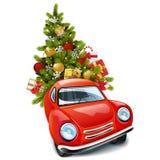 Voiture rouge de vecteur avec l'arbre de Noël illustration libre de droits