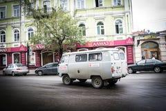 Voiture russe dans la station de train Photographie stock libre de droits