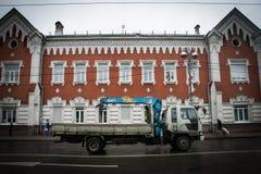 Voiture russe dans la station de train Images stock